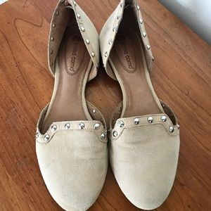 Nude suede studded flats
